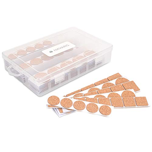 Navaris Cork Furniture Pads - Pack of 215 Self-Adhesive Wooden Hardwood Floor Non-Slip Stick-On Protectors with Box - Assortment of Shapes and Sizes