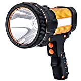 Gwendool super bright spotlight 7000 lumens waterproof LED flashlight rechargeable handheld searchlight 6600 MAh portable outdoor tactical flashlight 5 lighting modes (gold)
