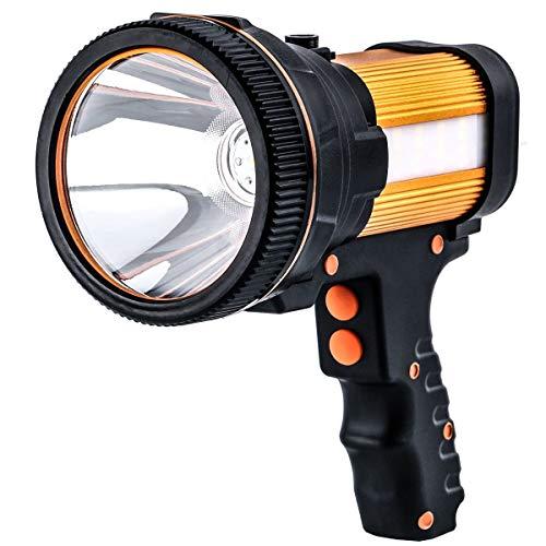 Gwendool super bright spotlight 7000 lumens waterproof LED flashlight rechargeable handheld searchlight 6600 MAh portable outdoor tactical flashlight 5 lighting modes gold