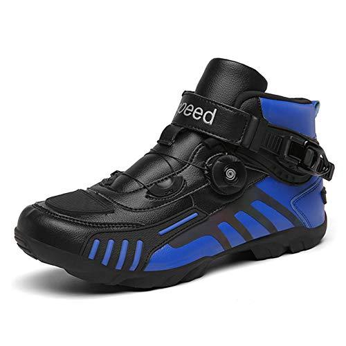 MRDEAR Motorschoenen, sneakers, heren en dames, met instelknop, motorlaarzen, motorschoenen, ademende antislip motorschoenen, korte enkellaarsjes, sportschoenen, turnschoenen, 3 kleuren, blauw, 45 EU