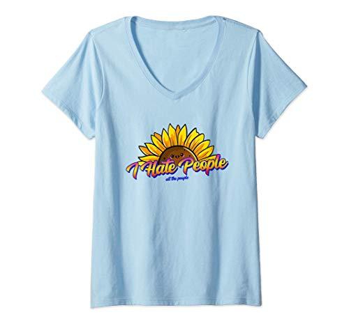 Mujer Odio a la gente - Girasol Camiseta Cuello V