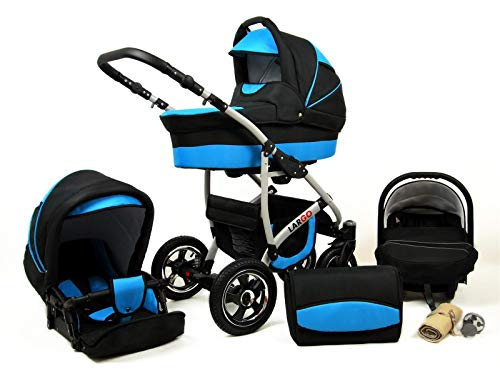 Kinderwagen 3in1 2in1 Set Isofix Buggy Babywanne Autositz New L-Go by SaintBaby Schwarz & Blau 3in1 mit Babyschale