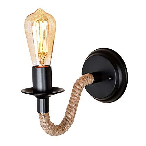Vintage Retro Wandlampe Amerikanische Seil Industrial Lampe Eisen Rohr Groß Seil Wand Lampe Gänge Wandleuchten E27 220v Für Loft Korridor Wohnzimmer Balkon(keine Lichtquelle) [energieklasse A+]