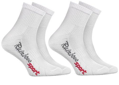 Rainbow Socks - Niño Niña Calcetines Deporte Colores Algodón - 2 Pares - Blanco - Talla 30-35