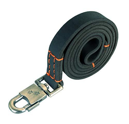 JUPUDA Leather Dog Leashes,4 Ft-1 inch,Black Durable and Soft Dog Leather Leash Leash Leather for Medium Large Extra Large Dogs
