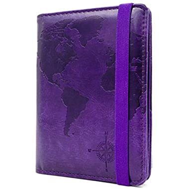 Kandouren RFID Blocking Passport Holder Cover Case,travel luggage passport wallet made with Purple Map Crazy Horse PU Leather for Men & Women