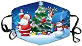 Pañuelo de Navidad para adultos reutilizable lavable cara impresa bandana transpirable para trabajo al aire libre Traving Camping-Christmas #29