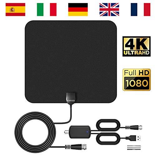 DVBT2 Antenne, TV Antenne, Zimmerantenne DVBT2 Mit Verstärker, Fernsehen Ohne Kabel, DVB-T2/DVB-T Antenne, Fernsehantenne 1080P 4K