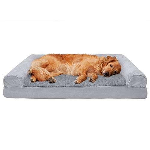 Furhaven Pet Dog Bed - Cooling Gel Memory Foam Ultra Plush Faux Fur and Suede Traditional Sofa-Style Living Room Couch Pet Bed with Removable Cover for Dogs and Cats, Gray, Jumbo