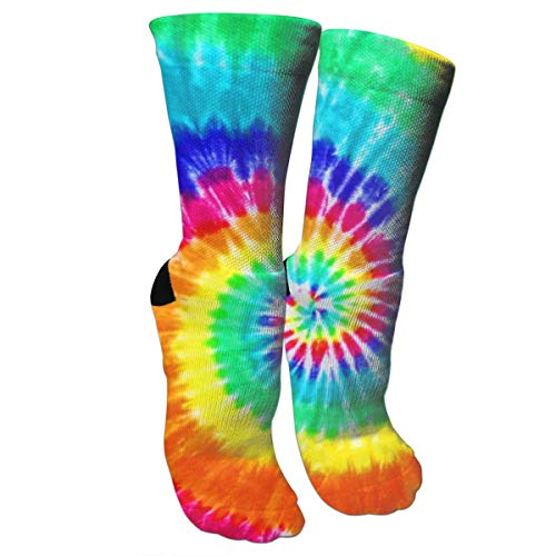 ULQUIEOR Women's Colorful Tie Dye Cotton Cushion Wicking Athletic Sports Crew Socks