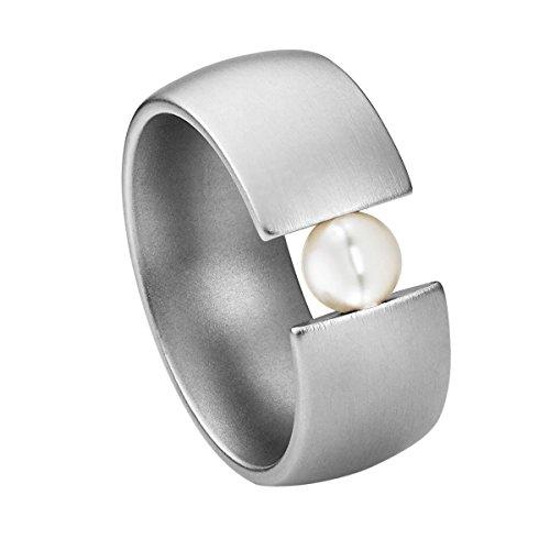 Heideman Ring Damen aus Edelstahl Silber farbend matt Damenring für Frauen mit Swarovski Perle Weiss rund 6mm