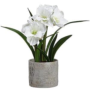 22″ Handwrapped Silk Amaryllis Flower Arrangement w/Pot -White (Pack of 4)