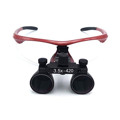 GoDen 双眼ルーペ 3.5X拡大鏡 420mm 光学ルーペ (赤)