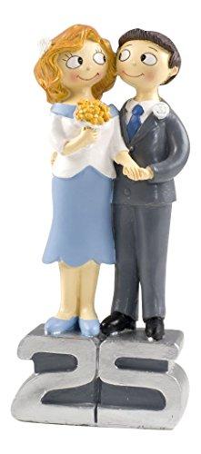 Mopec Y250-Figura per torta, personaggi: sposi, occasione: 25° anniversario, linea: pop & fun, dimensioni: 21,5 cm