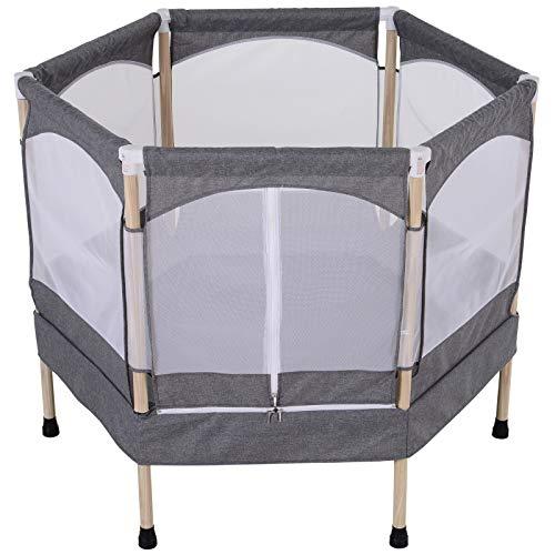 homcom Trampolino Elastico Salvaspazio per Bambini 3-12 Anni (Max. 80kg) con Rete di Protezione, Grigio, 126x109x98cm
