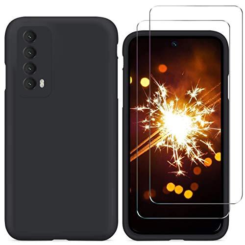 N+A YiKaDa - Cover Compatibile con Huawei P Smart 2021 + [2 Pack] Pellicola Protettiva in Vetro Temperato, Custodia Liquid Silicone Leggero - Negro