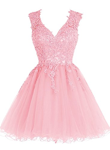 Homecoming Dress Short Cocktail Dress Lace Homecoming Dresses Tulle Appliques Prom Dresses V Neck Pink