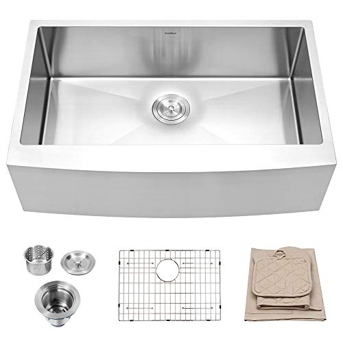 LORDEAR 33 Inches, 16 Gauge, 10 Inch, SLJ16003 Commercial, Deep Drop, Stainless Steel, Undermount, Farmhouse Apron, Single Bowl, Front Kitchen, Brushed Nickel,