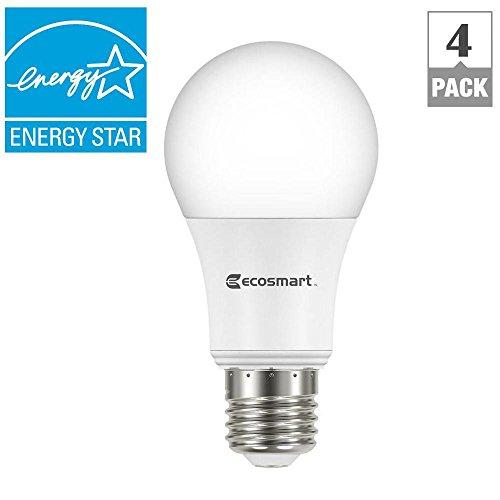 (4 Pack) Ecosmart A19 LED 60 Watt Replacement (8.5W) Daylight White (5000K) 840 Lumens Energy Star Rated Medium Base E26 Dimmable Regular Shaped Light Bulbs