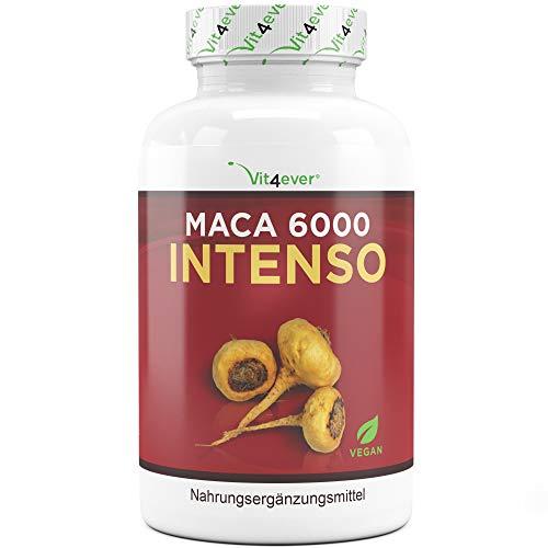Vit4ever® Maca 6000 Intenso - 200 Kapseln mit 6000 mg Maca Wurzel pro Kapsel aus 10:1 Extrakt - Laborgeprüfte Qualität - Vegan - Hochdosiert