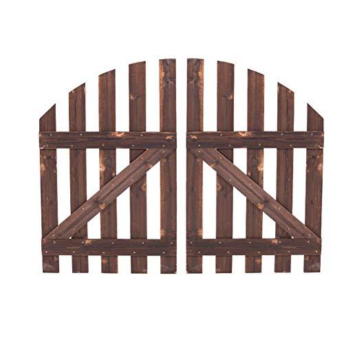 Valla de estacas de jardín pequeña cerca de la puerta decorativa impermeable protector solar de alta temperatura de carbonización Proceso de bisagra de conexión, 2 tamaños (Color: Marrón, Tamaño: 120x