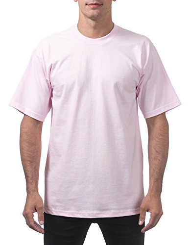 Pro Club Men's Heavyweight Cotton Short Sleeve Crew Neck T-Shirt, Pink, X-Large