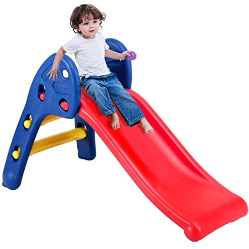 COSTWAY Folding First Slide for Kids | Toddlers | Children, Foldable for Easy Storage, Primary Climb Toy, Safety Plastic, Use for Indoor Outdoor Garden Playground (Blue+Red)