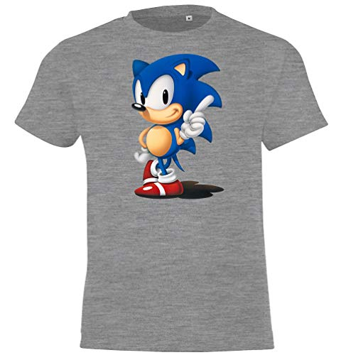 Kinder T-Shirt Modell Sonic, Gr. 106/116 (6 Jahre), Grau