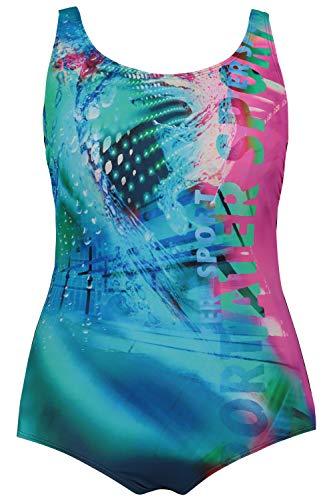 ULLA POPKEN, Damen, Große Größen, Badeanzug Wassersport RT Costume Intero, Multicolore, 48 Donna