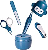 CHYVTOU - Kit de cuidado de uñas para bebé, kit de cuidado de uñas con bonito estuche, kit de cortaúñas para bebé, tijeras, lima de uñas y pinzas, kit 4 en 1 para niños y niñas (azul)