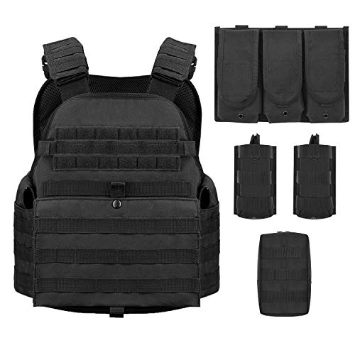 Barbarians MOLLE Tactical Vest, Outdoor Combat Training Vest Adjustable & Lightweight Black