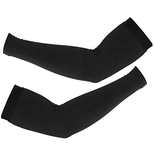 Keenso Warmers For Arms, Windproof Cycling Arm Warmers Fleece Lined Arm Warmers Outdoor Men Women's Cold Weather Arm Warmers(Black M)