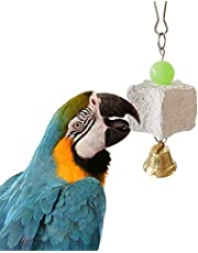KLY07p Pet Birds Parrot Teeth Grinding Stone Hanging Chewing Cage Bell Toy Decoration