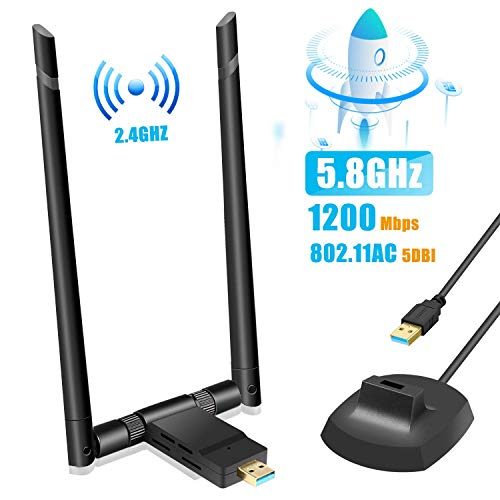 TouchSKY Adaptador Antena WiFi, USB 3.0 Dual Band Receptor WiFi 2 Antenas WiFi de 5dBi Soporte de 5Ghz 867Mbps + 2.4GHz 300 Mbps para PC con Windows XP/Vista / 7/8/8.1/10/ Mac OS/Linux