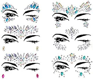 Mermaid Face Gems Glitter Sticker Rhinestone Bindis Crystal Face Jewels Tattoo Forehead Decorations for Women 6 PCS