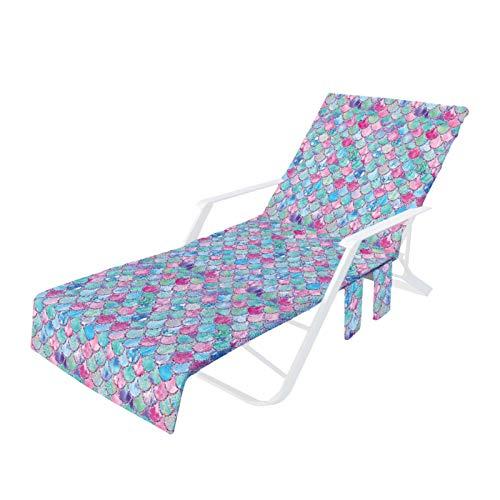 Watermelon Funda de silla de playa, plegable, para piscina, salón, silla, tumbona, con bolsillos laterales, para piscina, hotel, jardín, sol, crucero, vacaciones, 75 x 210 cm