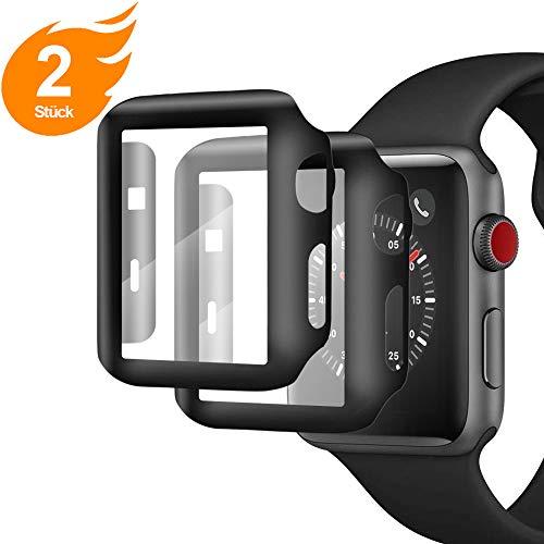 AsBellt Kompatibel mit Apple Watch 42mmSchutzfolie, (2Stück) PC Hülle Panzerglasfolie, Wasserdicht, Staubdicht, Anti-Nebelwasser, 360Grad Vollschutz füriWatch 42mm Series 3/Series 2-Schwarz