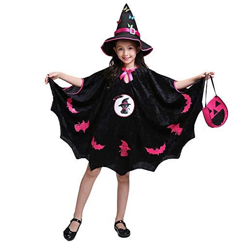 LOLANTA meisjes gesierd heks kostuum kind steek heks mantel halloween cosplay chique jurk mantel+hoed+tas, 10-11 years, Zwart