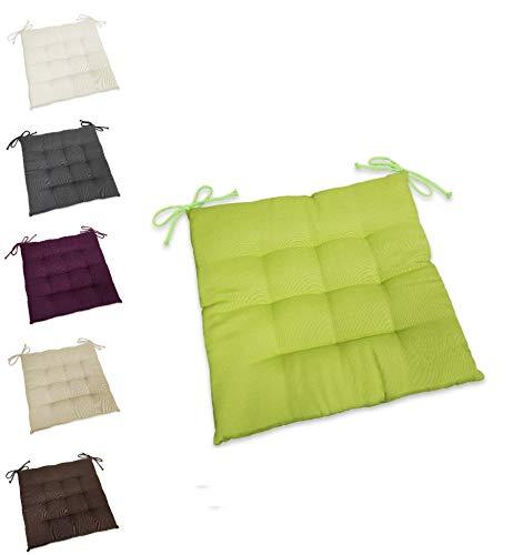 wometo Sitzkissen Stuhlkissen Sitzpolster Stella 40x40 cm - grün grasgrün hellgrün Sitzauflage Auflage für Haus und Garten Polster Kordelbänder für sicheren Halt gemütlich