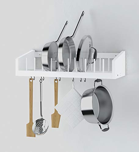 Kitchen Wood Wall Mounted Rack with Metal Rail and 10 S Hooks, Pot Pan Plate Lid Kitchenware Towel Storage Display Organizer (White)