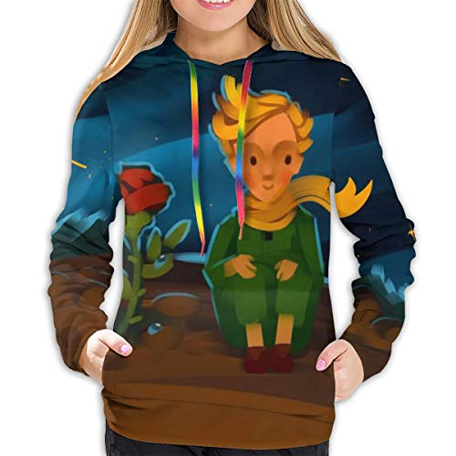 Sudadera con Capucha para Mujer The Little Prince and The Rose On A Planet In Beautiful Night Sky Sudadera