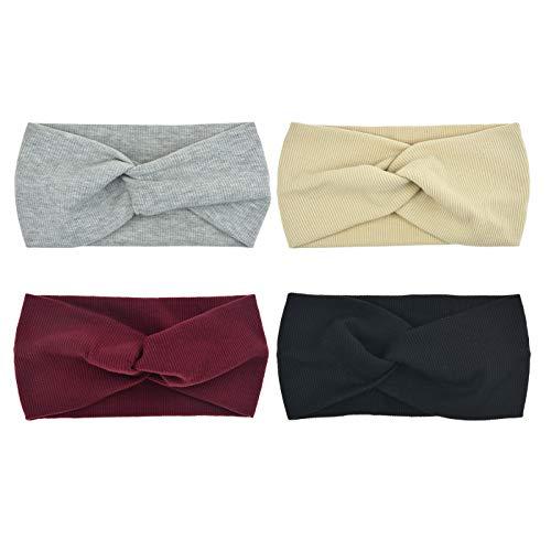 DRESHOW 4 Pack 1950 fasce del fiore d'epoca per le donne torsione elastica turbante fascia capo...