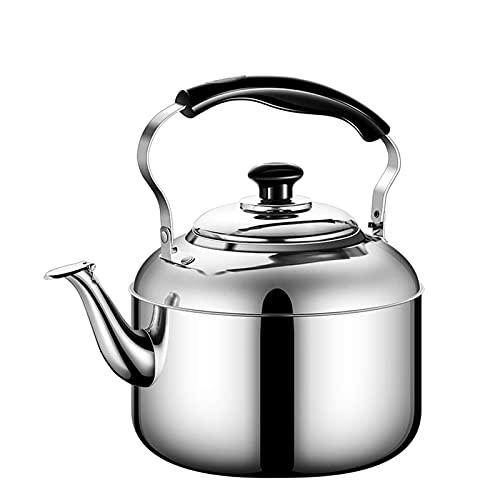 hervidor de té Whistle Tetera con hervidor de Plata de Acero Inoxidable de Grado alimenticio con Mango ergonómico y Orificio de Filtro en el hervidor, hervidor de 4-8L (tamaño: 5L)