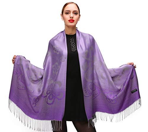 Shmily Girl Damen Schultertuch Stola - Eleganter Pashmina Schal mit floralem Muster in vielen Farben (One Size, Violett-c085)