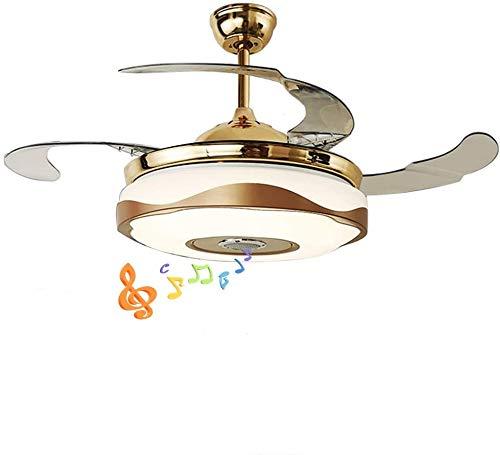 Moerun 42'' Ventilatore da soffitto moderno con luce Smart Bluetooth Music Player Lampadario 7 colori Lame invisibili con telecomando, motore silenzioso con kit LED inclusi