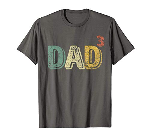 Hombre Dad Cubed Shirt Dad Of Three Mens Quote Funny Christmas Gift Camiseta