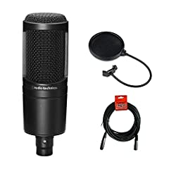 Specially Priced Package includes Audio Technica AT2020 with all items as packaged by Audio Technica, PLUS: (1) Pop Filter to filter out plosives while recording vocals or speech (1) 20 ft. Balanced XLR Microphone cable for connecting the microphone ...