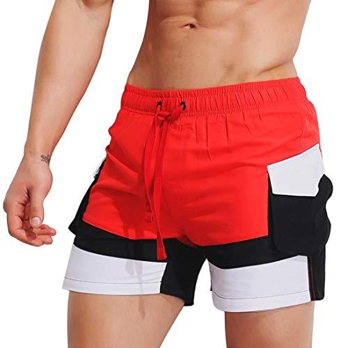 KPILP Herren Hipster Sommer Locker Atmungsaktiv Schwimmen Stämme Strandhosen Badeshort Bademode Kurze Hose Schlank Tragen Bikini Badeanzug Shorts(rot 2,M)