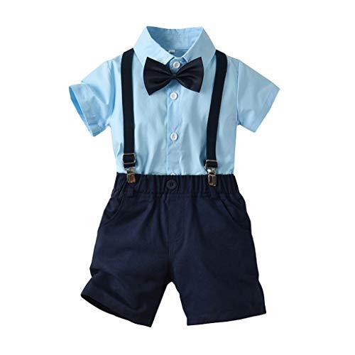 Allence Baby Jungen Bekleidung Set Festliche Kleidung Baumwolle Hemd Hose Hosenträger Taufanzug Gentleman Anzug Fliege Kinderbekleidung (90, Blau1)