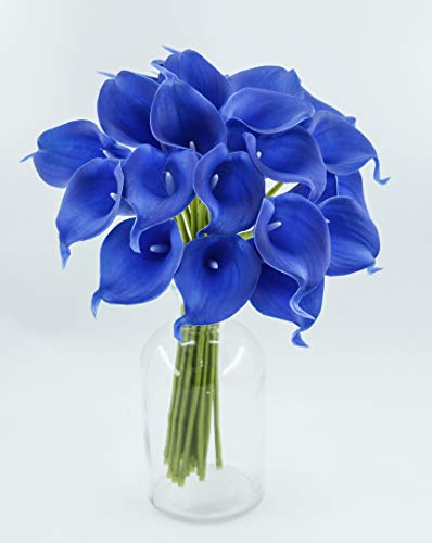 Angel Isabella, LLC 20pc Set of Keepsake Artificial Real Touch Calla Lily with Small Bloom Perfect for Making Bouquet, Boutonniere,Corsage (Royal Blue)